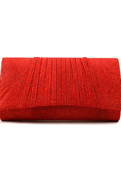 Shimmery Pleated Evening Clutch Bag - orangeshine.com