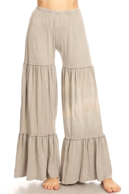 MINERAL WASHED LAYER WIDE LEG PANTS - orangeshine.com
