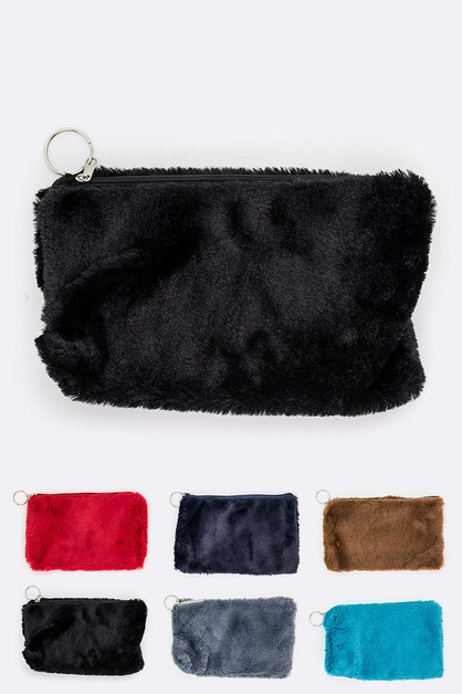 Faux Fur Plush Cosmetic Pouch Set - orangeshine.com