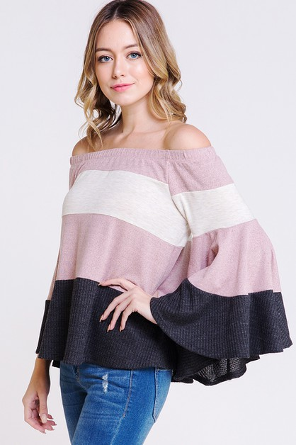 OFF THE SHOULDER COLOR BLOCK TOP - orangeshine.com