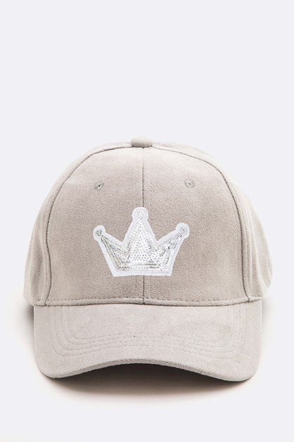 Silver Sequin Crown Iconic Suede Cap - orangeshine.com