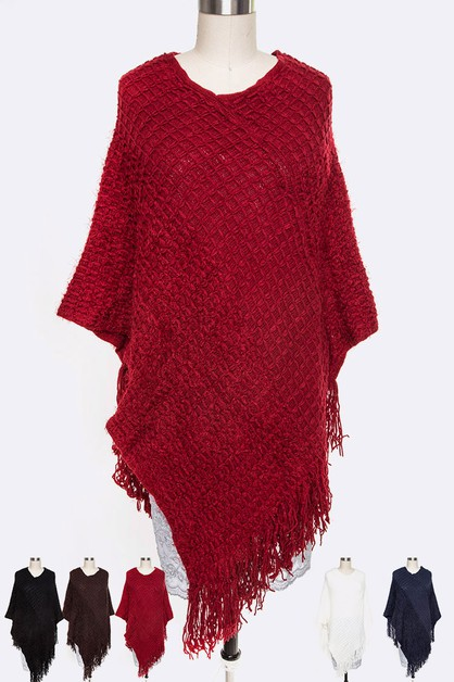 Fringe Textured Poncho Set - orangeshine.com