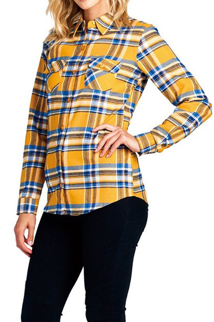 PLUS SIZE Plaid Button Up Flannel - orangeshine.com
