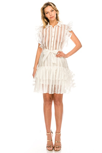Collar Romantic Stripe Ruffle Dress - orangeshine.com
