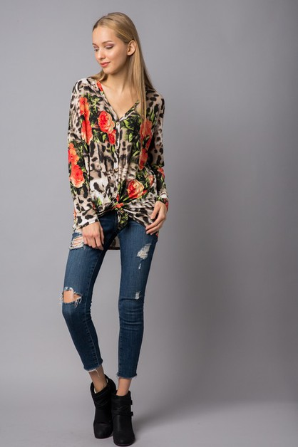Animal and Floral Print Top w Front  - orangeshine.com