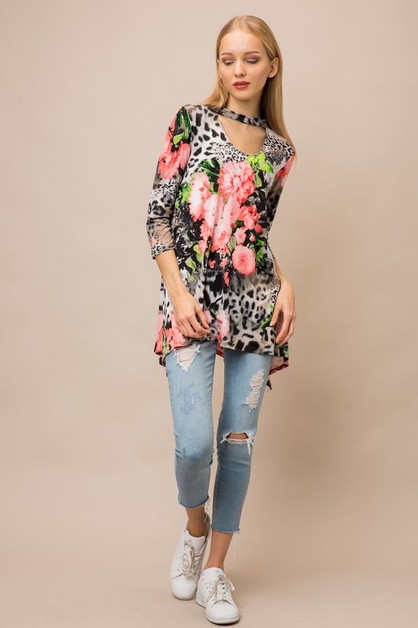 Animal and Floral KeyHole Top  - orangeshine.com