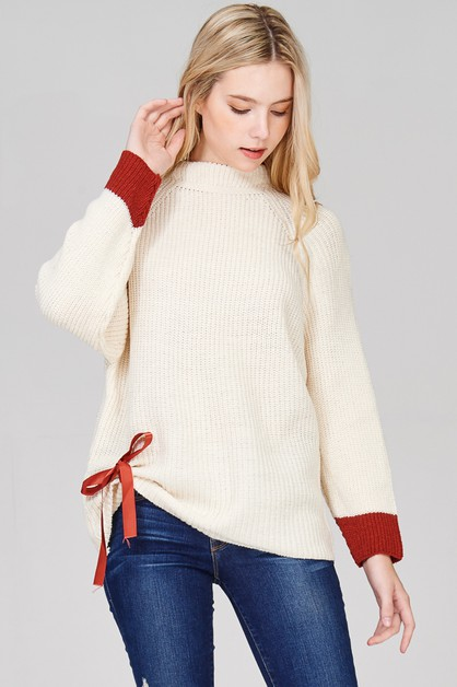 Ribbon Sweater with Red Tip Sleeves - orangeshine.com