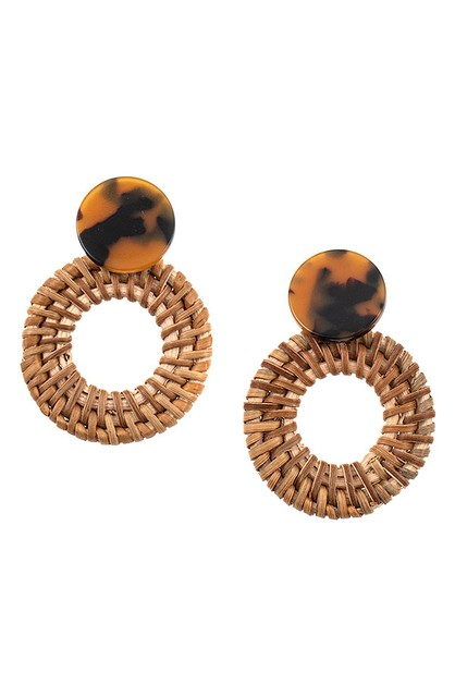 ROUND STRAW ACETATE POST EARRING - orangeshine.com