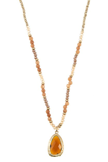 GLASS BEAD PENDANT NECKLACE SET  - orangeshine.com