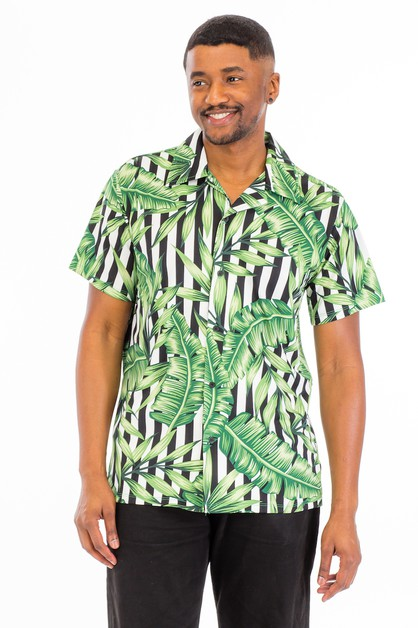 Tropical Woven Button Down Shirt - orangeshine.com