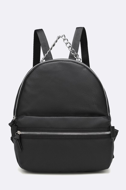 Iconic Chain Strap Leather Backpack - orangeshine.com