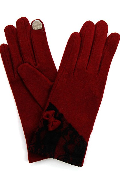 Lace and Bow Trim Tech Touch Glove - orangeshine.com
