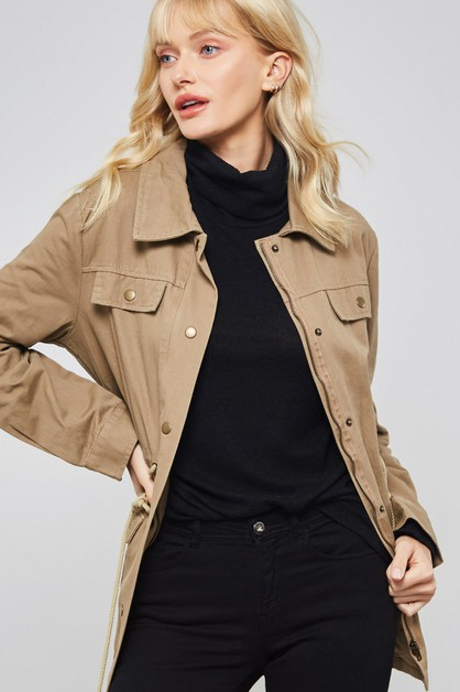 Solid Woven Jacket with Pockets - orangeshine.com