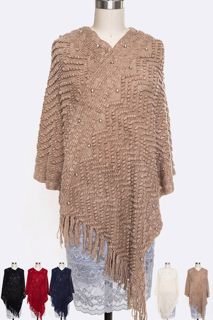 Textured Iconic Finge Poncho Set - orangeshine.com