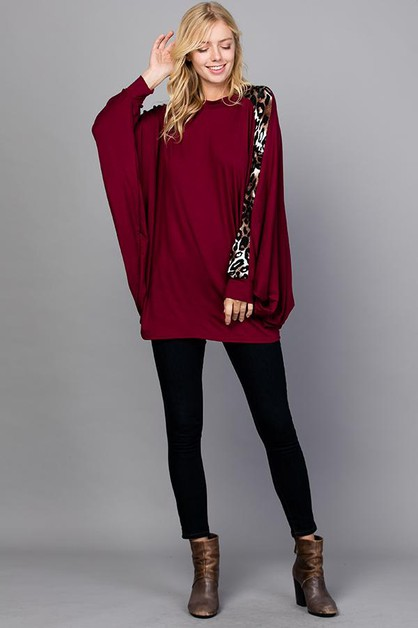 Animal Print Contrast Long Sleeves - orangeshine.com