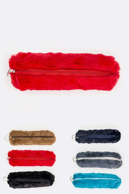 Faux Fur Plush Pen Cosmetic Cased - orangeshine.com