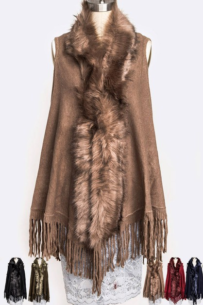 Fur Trim Fringe Vest Set - orangeshine.com