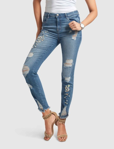 Vivian Stretch Denim Pants - orangeshine.com