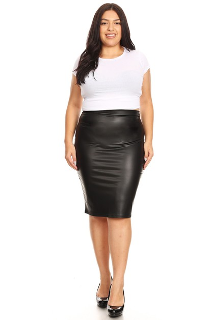 Faux Leather Pencil Skirt - orangeshine.com