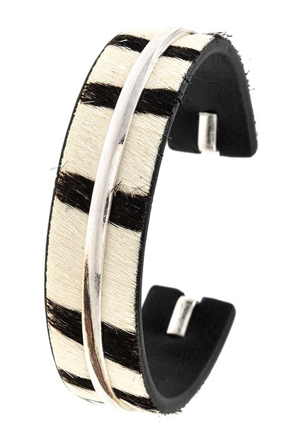 ANIMAL PRINT STRIPE CUFF BRACELET  - orangeshine.com