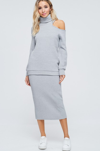 Sweater Knit Maxi Skirt - orangeshine.com