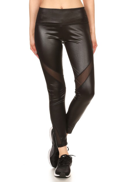 Black Mesh Faux Leather Leggings PU - orangeshine.com