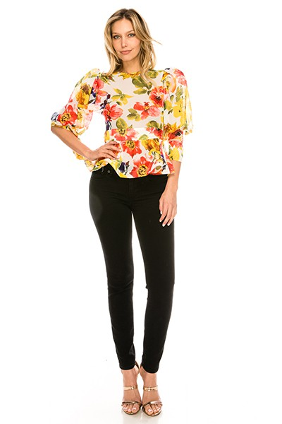 Business and Play Puff Sleeve Floral - orangeshine.com