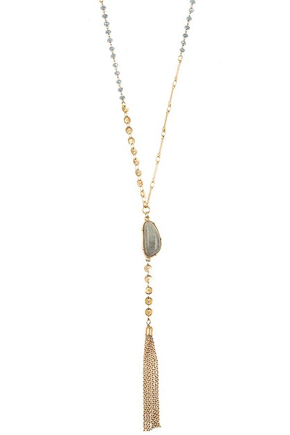 BEADED STONE TASSEL NECKLACE - orangeshine.com