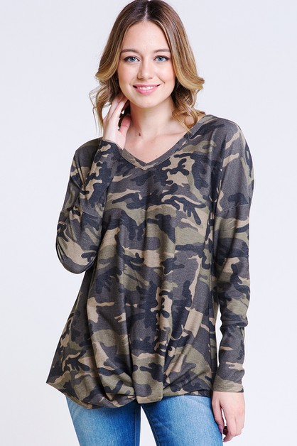 CAMOFLAUGE TERRY TWIST TOP - orangeshine.com