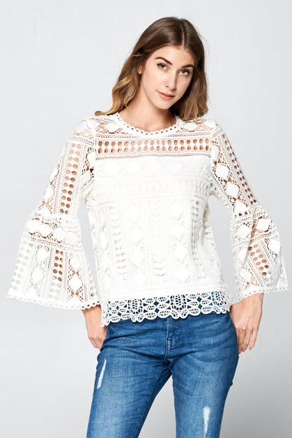 LACE BELL SLEEVE TOP  - orangeshine.com