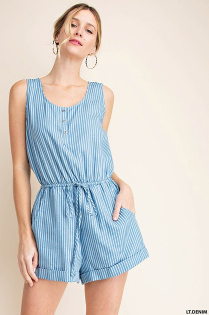 STRIPE   CHAMBRAY ROMPER - orangeshine.com
