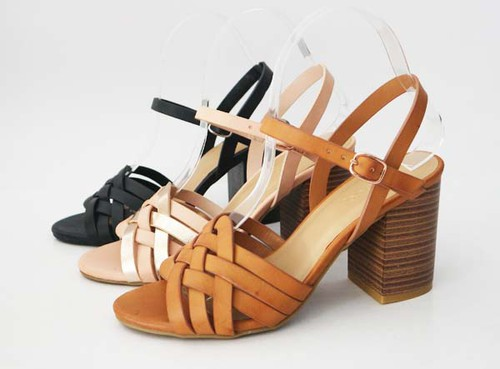 Stacked heel buckle braided sandals - orangeshine.com