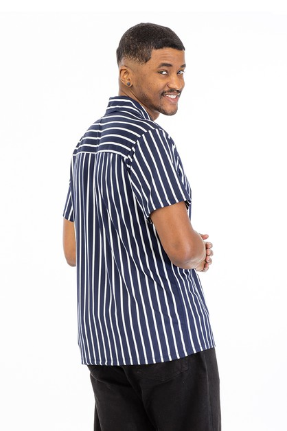 Pinstripe Button Front Shirt - orangeshine.com