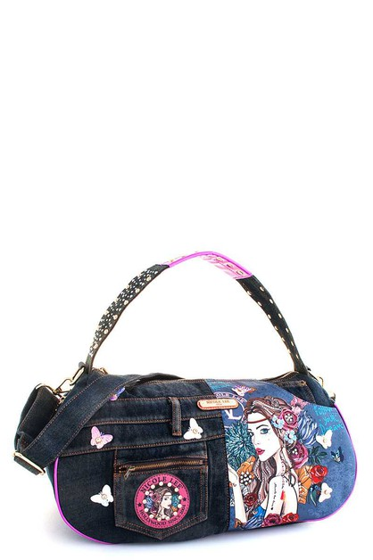 Nicole Lee BOHEMIAN DENIM HANDBAG - orangeshine.com