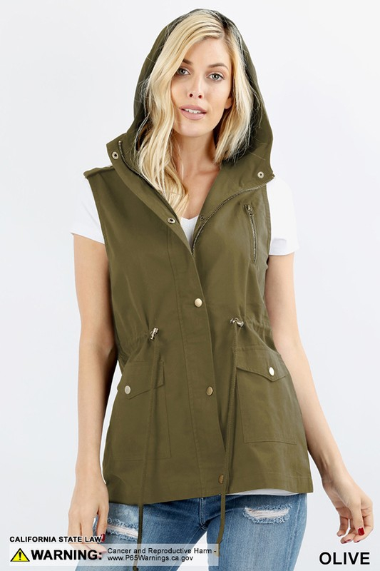 LOOSE FIT MILITARY HOODIE VEST - orangeshine.com