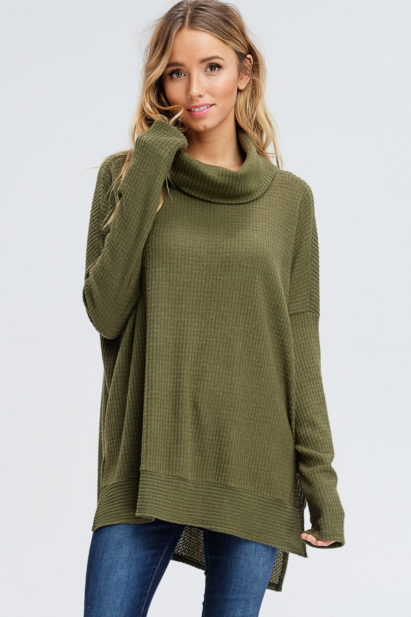 Split Hi-Low Hem Cowl Neck Sweater - orangeshine.com