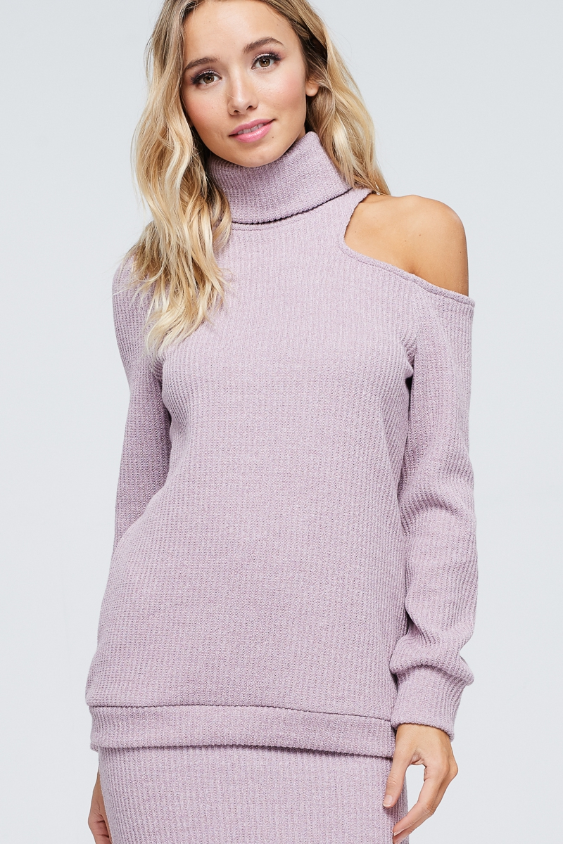 MONO-SHOULDER TURTLENECK TOP - orangeshine.com