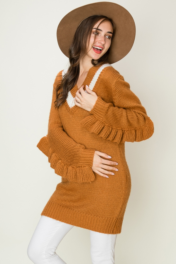 Knit Long Sweater Dress with Ruffle  - orangeshine.com