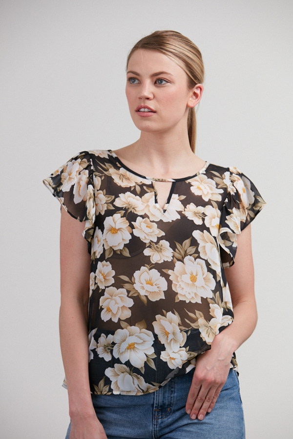 FLORAL PRINT FRILL SLEEVES BLOUSE - orangeshine.com