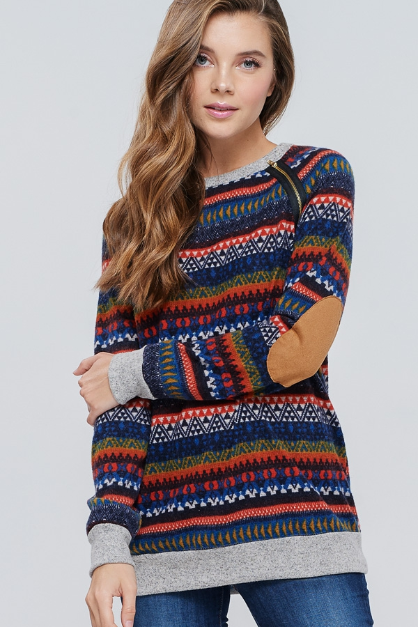 Tribal Print Knit Sweater - orangeshine.com