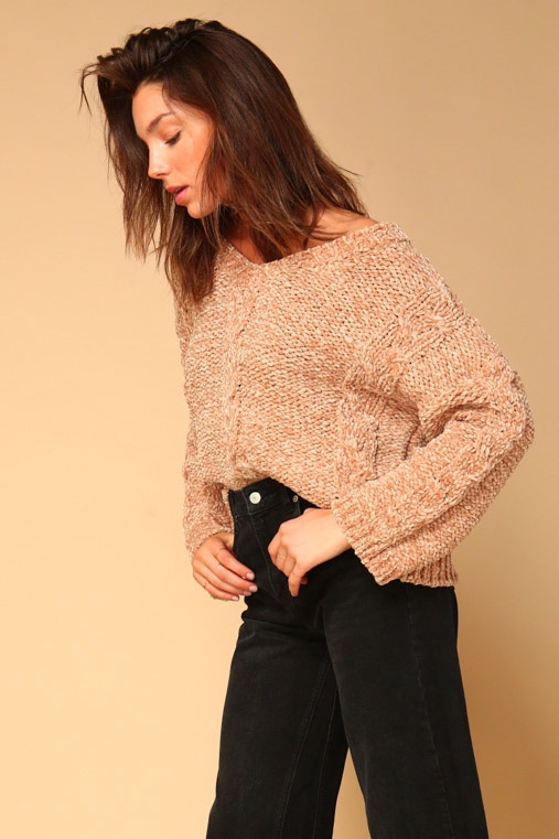 Lane Chenille Cable Detail Sweater - orangeshine.com
