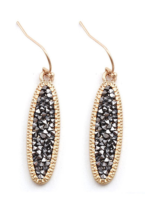Rhinestone Studded Metal Bar Earring - orangeshine.com