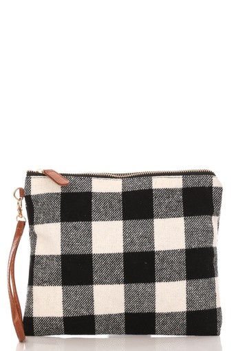 Plaid Square Cosmetic Bag - orangeshine.com