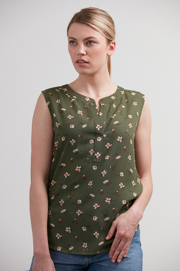 TINY FLORAL PRINT BLOUSE GREEN  - orangeshine.com