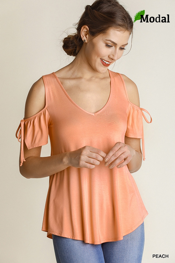 V Neck Cold Shoulder Top - orangeshine.com