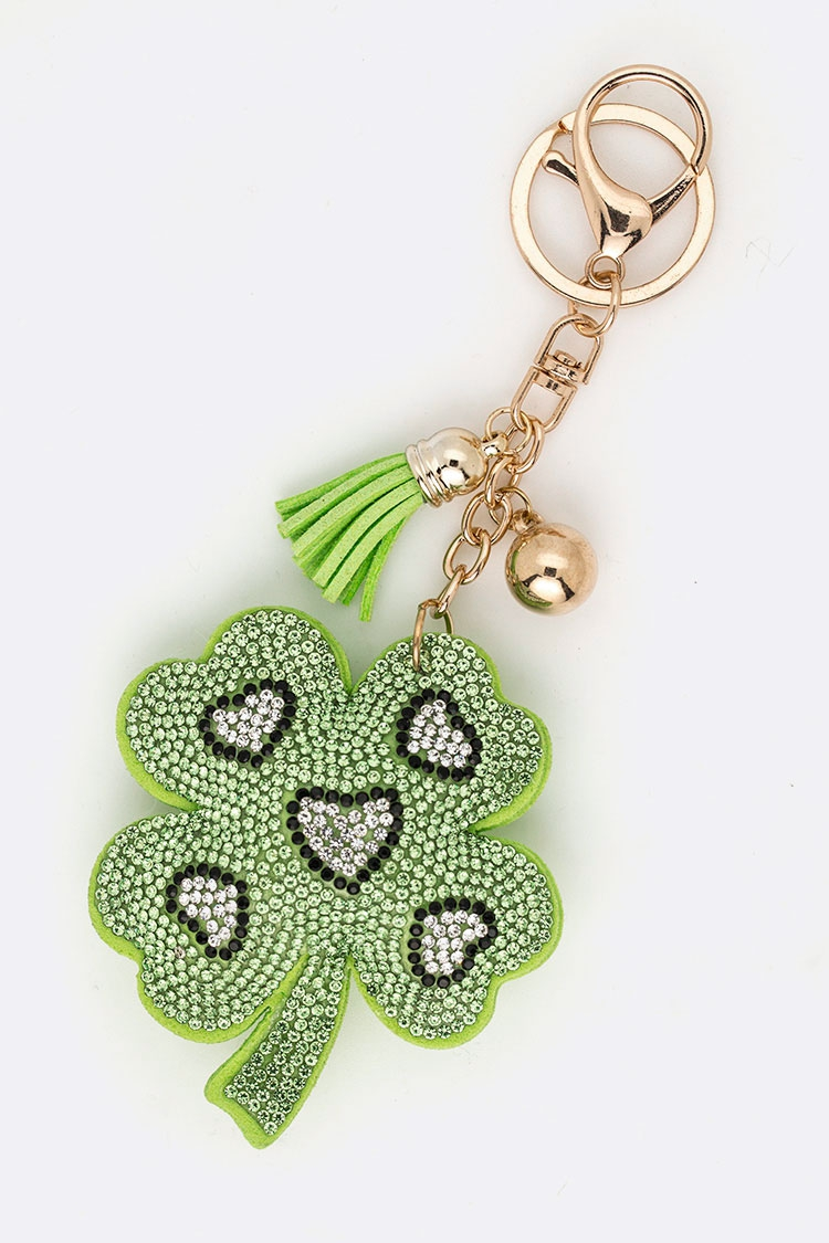 Lucky Clover Leaf Crystal Key Chain - orangeshine.com