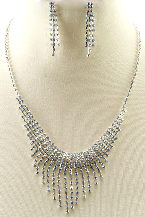 Rhinestone Evening Necklace Set  - orangeshine.com