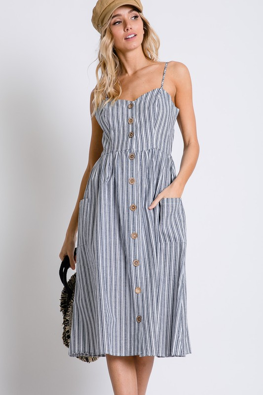 STRIPED COTTON CAMI MIDI DRESS - orangeshine.com