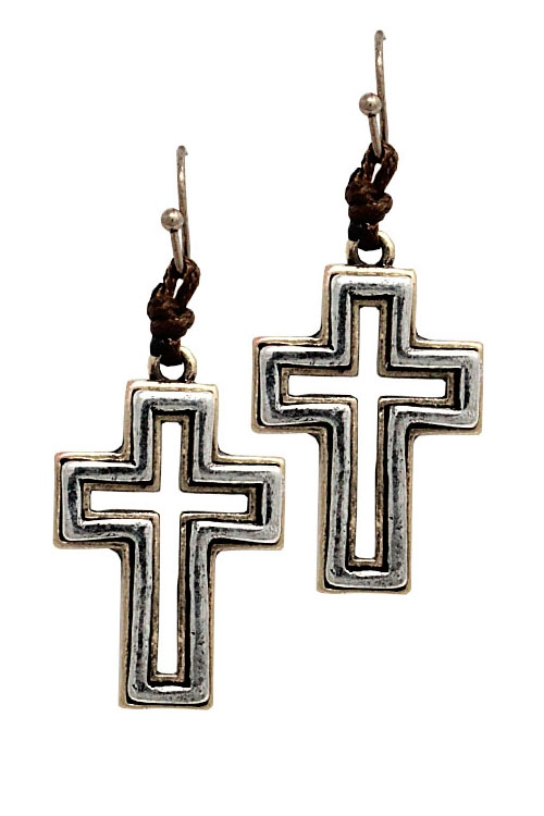 Metal Cross Drop Hook Earrings  - orangeshine.com