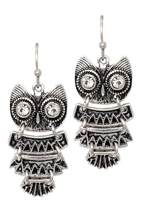 Mix Metal Owl Drop Hook Earrings  - orangeshine.com
